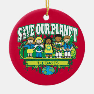 Earth Kids Illinois Double-Sided Ceramic Round Christmas Ornament