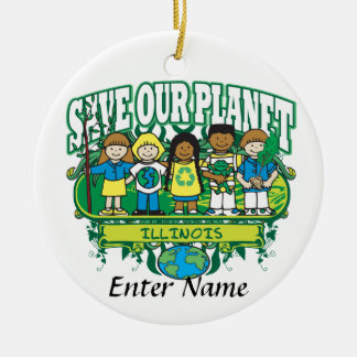 Earth Kids Illinois Round Ceramic Decoration