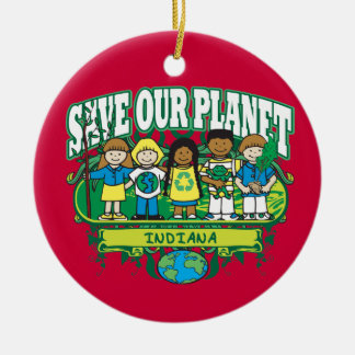 Earth Kids Indiana Round Ceramic Decoration