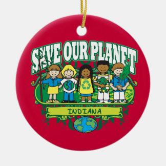 Earth Kids Indiana Round Ceramic Decoration