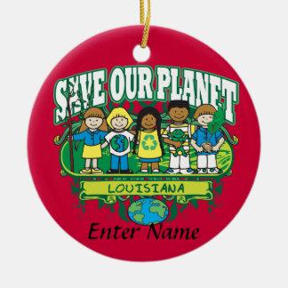 Earth Kids Louisiana Round Ceramic Decoration