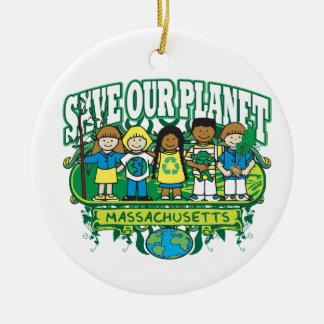 Earth Kids Massachusetts Round Ceramic Decoration