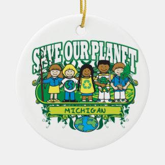 Earth Kids Michigan Round Ceramic Decoration