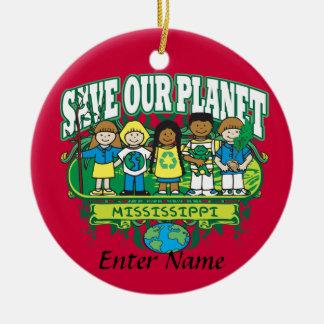 Earth Kids Mississippi Round Ceramic Decoration