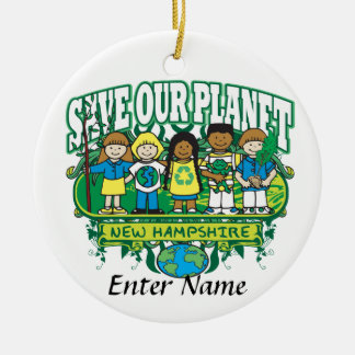 Earth Kids New Hampshire Round Ceramic Decoration