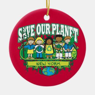 Earth Kids New York Round Ceramic Decoration