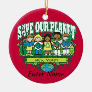Earth Kids New York Round Ceramic Decoration