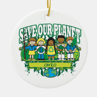 Earth Kids Ohio Double-Sided Ceramic Round Christmas Ornament