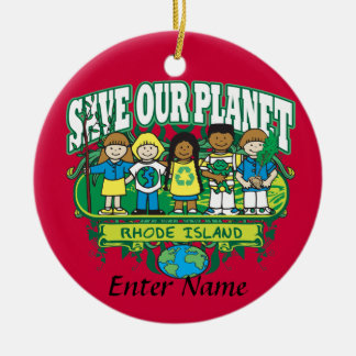 Earth Kids Rhode Island Round Ceramic Decoration