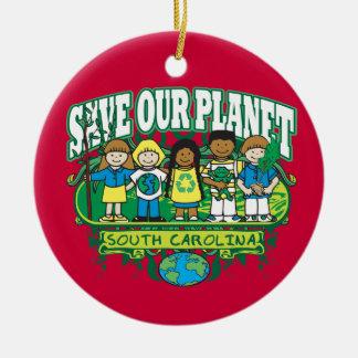 Earth Kids South Carolina Round Ceramic Decoration
