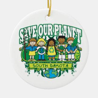 Earth Kids South Dakota Round Ceramic Decoration