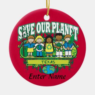 Earth Kids Texas Round Ceramic Decoration