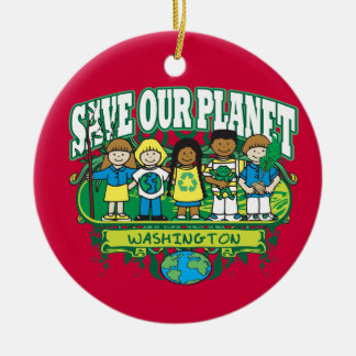 Earth Kids Washington Double-Sided Ceramic Round Christmas Ornament