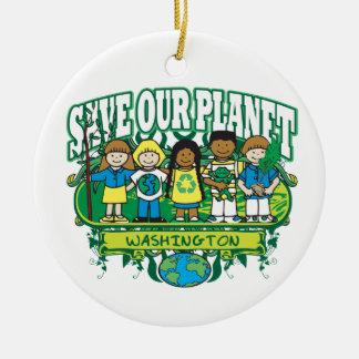 Earth Kids Washington Round Ceramic Decoration