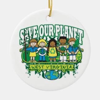 Earth Kids West Virginia Round Ceramic Decoration