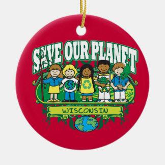 Earth Kids Wisconsin Round Ceramic Decoration