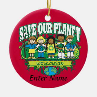 Earth Kids Wisconsin Round Ceramic Decoration