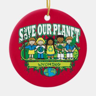 Earth Kids Wyoming Round Ceramic Decoration
