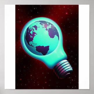 earth light bulb poster