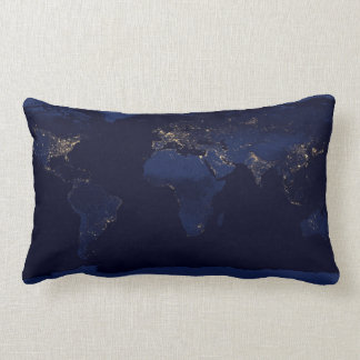 Earth Lights At Night Throw Pillow