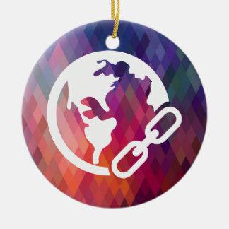 Earth Links Icon Round Ceramic Decoration