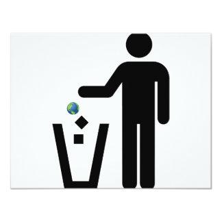 Earth Litter Disposal 11 Cm X 14 Cm Invitation Card