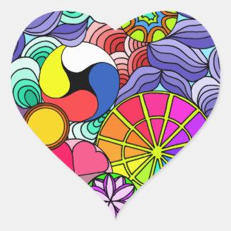Earth Mandala Heart Heart Sticker