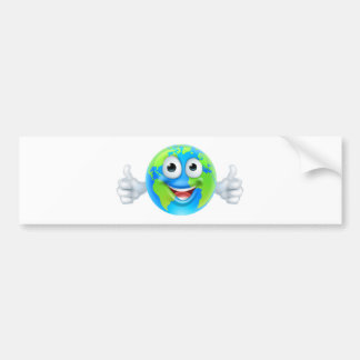 Earth Mascot Cartoon Character Bumper Sticker