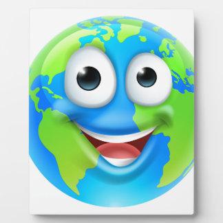 Earth Mascot Cartoon Character Plaque