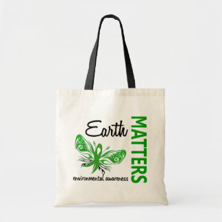 Earth Matters Butterfly Environmental Awareness Tote Bag