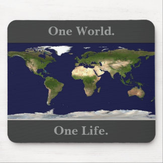 Earth mousepad, One World., One Life. Mouse Mat