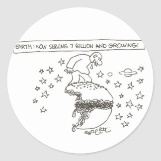 Earth: now serving 7 billion and growing! round sticker