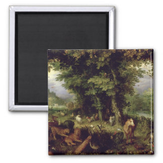 Earth or The Earthly Paradise, 1607-08 (oil on cop Square Magnet