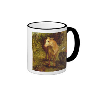 Earth or The Earthly Paradise, detail of a cow, po Ringer Mug