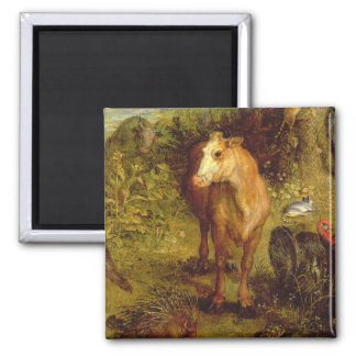 Earth or The Earthly Paradise, detail of a cow, po Square Magnet