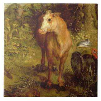 Earth or The Earthly Paradise, detail of a cow, po Tile