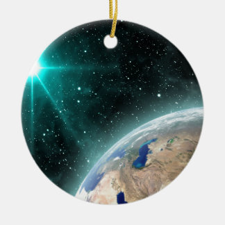 Earth Outer Space Round Ceramic Decoration