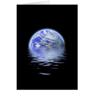 Earth Over Flooded Water Ripples Greeting Cards