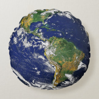 Earth Pillow-Featuring BOTH sides of our Planet! Round Cushion