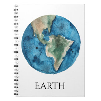 Earth Planet Watercolor Notebook
