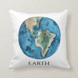 Earth Planet Watercolor Pillow