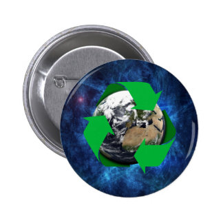 Earth Recycle 6 Cm Round Badge