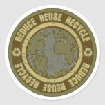 Earth Recycled Grunge Round Sticker