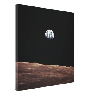 Earth Rise from Lunar Surface Stretched Canvas Print