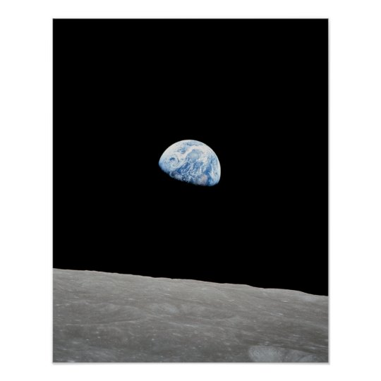 Earth rising above Moon as viewed from Apollo