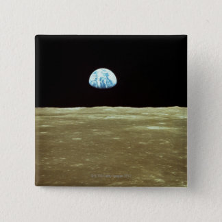 Earth rising over Moon 15 Cm Square Badge
