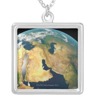 Earth Seen from Space Silver Plated Necklace
