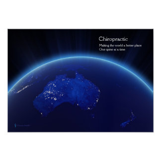 Earth showing Australia and NZ Chiropractic Poster
