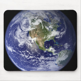 Earth showing the western hemisphere mouse pad