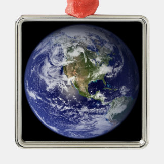 Earth showing the western hemisphere Silver-Colored square decoration